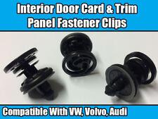 10x CLIPS For VW VOLVO Audi INTERIOR DOOR CARD TRIM RETAINER BLACK PLASTIC