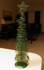 Metal Spiral Wire Slim Green Red & Green Beaded Christmas Tree EUC