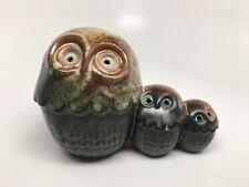 Vtg STONEWARE OWL FAMILY TRIO Figurine - Mid Century Japan - Brown & Teal Glaze