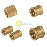 "Female To Female Coupler Brass Socket BSP Pipe Coupling 1"" 1/2"" 3/4"" 1/4"" WRAS"