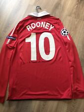 MANCHESTER UNITED 2010/11 HOME CHAMPION LEAGUE SHIRT LONG SLEEVES (M)10 ROONEY