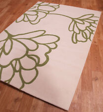 Retro Stencil Leaf Pattern with Soft Touch Pile Cream & Green 160 x 230cm