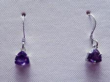 Amethyst  Earrings 6x6mm Faceted Trillions Dangles /Sterling Silver Ear Wire