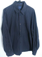 Faconnable Mens Size XXL Black Striped Long Sleeve Button Up Shirt