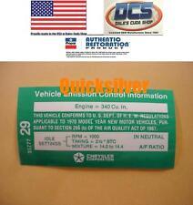 1970 AAR Cuda T/A Challenger 340 6bbl 4 Speed Trans Emissions Decal NEW MoPar
