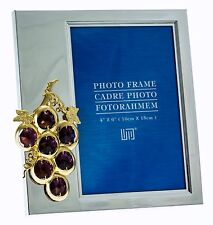 Silver Plated Picture Frame w/  Swarovski Crystal elements Grape Vine