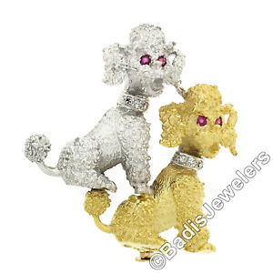 18K White & Yellow Gold Diamond & Ruby Textured Detailed Poodle Dogs Pin Brooch