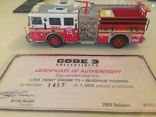 Code 3 FDNY 1:64 Engine 75 WITH CERTIFICATE