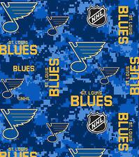 NHL HOCKEY ST LOUIS BLUES CAMO FLEECE FABRIC BLANKET MATERIAL BY 1/2 YARD CRAFT