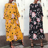 Women 3/4 Sleeve Floral Print Shirt Dress Oversize Kaftan Long Maxi Dress Plus