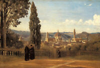"""Art Oil painting Corot - Florence - The Boboli Gardens with church on canvas 36"""""""