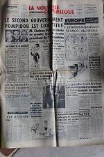 LA NOUVELLE REPUBLIQUE 7 DEC 1962 - GOUVERNEMENT POMPIDOU CHABAN-DELMAS DE GAULL