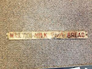 Vintage Malted Milk Fresh Bread Door Push or Rack Topper