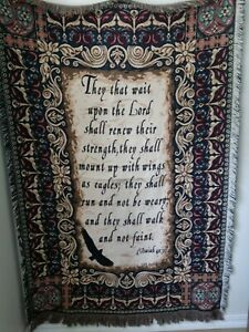 Life Outreach Tapestry Scripture Blanket Bible Verse Isaiah 40:31 Christianity
