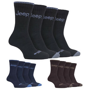 4 Pack Mens Anti Blister Walking Boot Socks with Thick Padded Sole by Jeep
