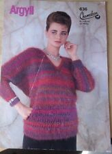 Ladies' V Kneck Sweater. Argyll Chameleon