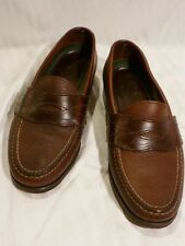 H.S.TRASK Men's Brown Leather Penny Loafer, Size US 8.5, Made in USA
