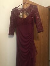 Maroon 3/4 Sleeve Formal Dress