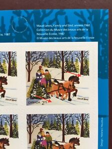 Canada Stamp Booklet - 2020 Xmas MAUD LEWIS Pane of 6 Stamps with DOUBLE ERROR