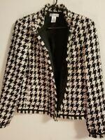 Draper's & Damon's Open Front Jacket. Women's Size 12. Fringe. Brown & Black.