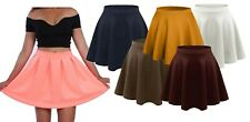 Ladies Short Mini Skater Skirt Womens Plus Size Plain Flared A-Line Skirt 8-22