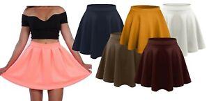 Ladies Short Mini Skater Skirt Womens Plus Size Plain Flared A-Line Skirt 8-22