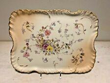 AntiqueRW Rudolstadt Porcelain Platter,Germany,Art Nouveau,Pastel Floral bouquet