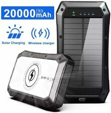 Solar Charger 20000mAh, Portable Phone Charger Mobile Power Bank, Camping Waterp