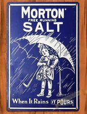 "TIN SIGN ""Morton Salt"" Girl Kitchen Blue Rustic Wall Decor"