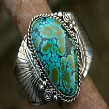 925 Silver Natural Turquoise CZ Women Men Jewelry Engagement Wedding Ring Sz6-10