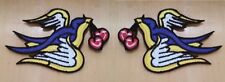 PAIR Sparrow Swallow Dove Cherry Tattoo Lady Rider Embroidered Iron On Patch