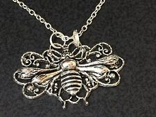 Bee Honey Large Filigree Charm Tibetan Silver Necklace 18""