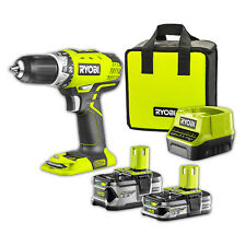 RYOBI 18V ONE+ Compact Drill Driver Kit Includes 1.5 & 5Ah Battery, Charger &bag