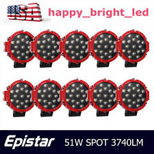 10X 51W 7inch Spot Led Work Light Round Bumper Offroad Driving Ford Truck Auto