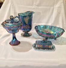 Vintage Indiana Carnival Blue (SET-See Descrip) Beautiful Set!! Pitcher,