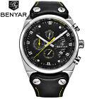 BENYAR 30M Water Resistant Genuine Leather Band Men Pilot Quartz Wrist Watch