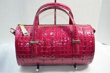 NWT $255 Brahmin Claire Fuschia La Scala Pink Barrel Satchel Crossbody