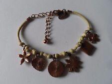NEXT Bracelet Tellow String Copper Tone Metal Chain Enamel Charms FreePost UK
