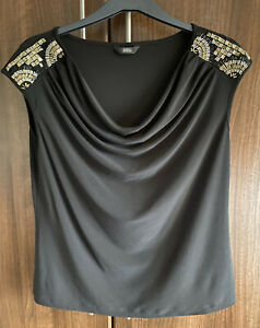 MARKS & SPENCER Black Stretch Beaded t shirt top size 14