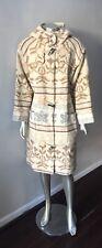 Woolrich Nordic Vintage Fair Isle Duffle Hooded Long Midi Beige Wool Coat L