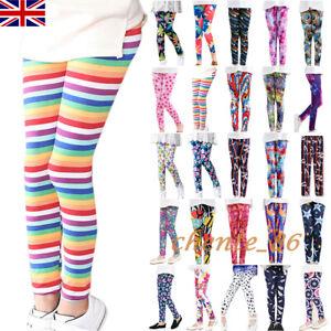 Kids Trousers Girls Pants Floral Stripe Leggings Slim Body Sculpting Dance Warm