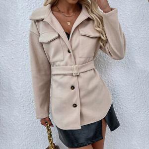 Autumn Elegant Women Long Sleeved Buttoned Coat Office Ladies Jacket Tops