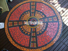 "52"" Decorative Outdoor Marble Center Table Carnelian Inlay Art Collectible Decor"