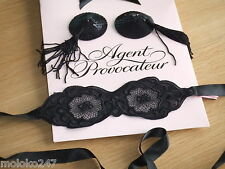 AGENT PROVOCATEUR LACE EYE MASK & SPOYLT BLACK TASSELLED PASTIES & GIFT BAG BNWT