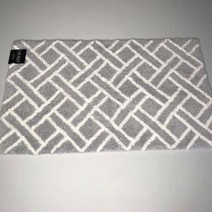 Lauren RALPH LAUREN Bath Rug Anti Slip Geometric Gray/White 21x34 inches