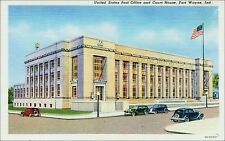 Post Office and Court House, Cars, Ft. Wayne, IN. 1930s Linen.