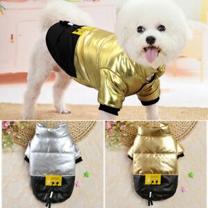 Winter Dog Coats Warm Fleece Padded Gold Puppy Jacket Apparel Chihuahua Clothes