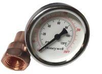 """Thermometer & Copper Kit For Moonshine Still Keg Column. 1/2"""" NPT Thread Kettle"""