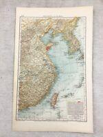 1899 Antique Map of Korea Eastern China Taiwan Original 19th Century GERMAN