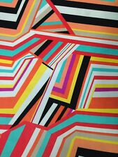 Abstract Multi Color Stripes on Polyester Spandex 2 ways Stretch Fabric